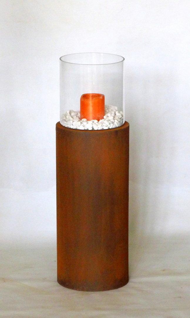 naturrost metalls ule mit windlicht aus glas 24 x h 104 cm. Black Bedroom Furniture Sets. Home Design Ideas